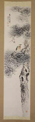 """JAPANESE HANGING SCROLL ART Painting """"Bird on tree"""" Asian antique  #E8747"""