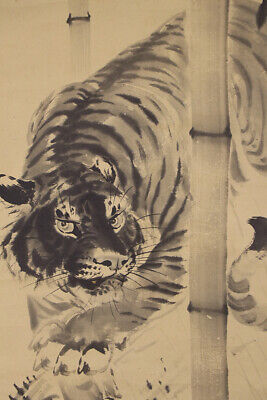 """JAPANESE HANGING SCROLL ART Painting """"Tiger"""" Asian antique  #E8756"""