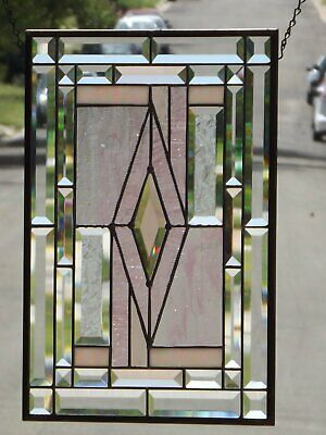 """•Pretty in PINK• Beveled Stained Glass ready to hang -19 1/2"""" x 13 7/16"""""""