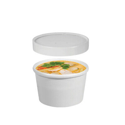 250x Food Cup with Lid 8oz / 237mL White Disposable Hot Cold Container Takeaway
