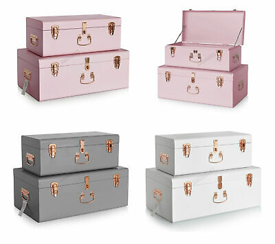FoxHunter Metal Storage Trunks Set 2PC Toy Box Chest Suitcase Vintage Lockable