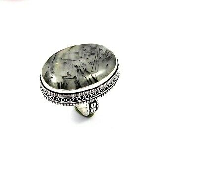 Lovely Black Needle Rutile Silver Carving Jewelry Ring Size 8.75 JT2344