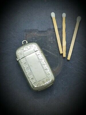 Antique Nickel Silver Plated Match Safe Vesta Case Small Pendant Chatelaine