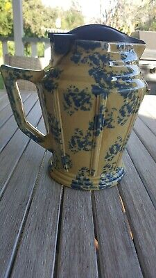 Art Deco / Vintage  Australian Ceramic Blue Mottled Electric Jug Kettle 1930's