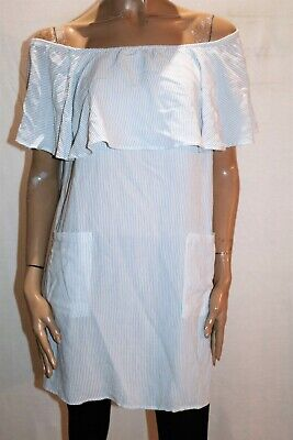feather + NOISE Brand Blue White Striped Off Shoulder Dress Size 14 BNWT #RL22