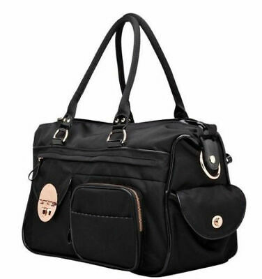 Mimco Lucid Baby Nappy Bag Black Nlon LARGE Duffle Weekender AUTHENTIC used ONCE