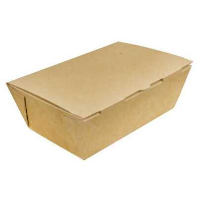 20x Cardboard Lunch Box 142x89x53mm Natural Look Corrugated Takeaway Pack Large