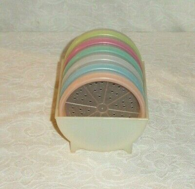 Set Of 6 Tupperware Wagon Wheel Drink Coasters With The Holder #568