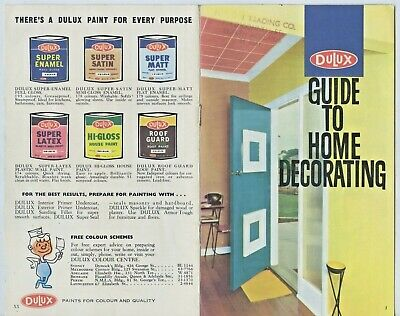 "1960 Dulux Paints 20 Page Booklet ""Guide To Home Decorating"" Good Condition  F19"