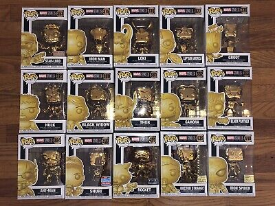 Funko POP Marvel Studios The First Ten 10 years Complete Gold Chrome Set 15 Rare