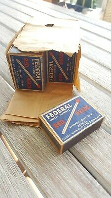 VINTAGE COLLECTABLE FEDERAL SAFETY MATCHES - Red Heads - 12 Boxes
