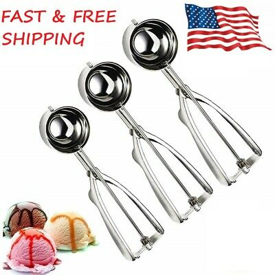 Stainless Steel 3 PCS Cookie Ice Cream Scoops for Baking Include L-M-S Size USA