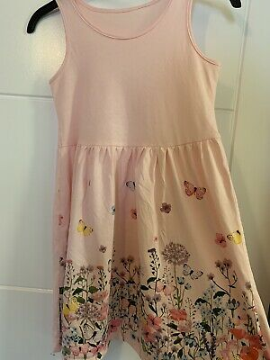 Girls H&M Pink Floral Butterfly Cotton Jersey Dress 8-9 Years
