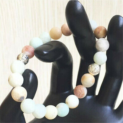 8mm Frosted Amazonite Beads Bracelet 7.5 inches Energy Healing Pray Monk