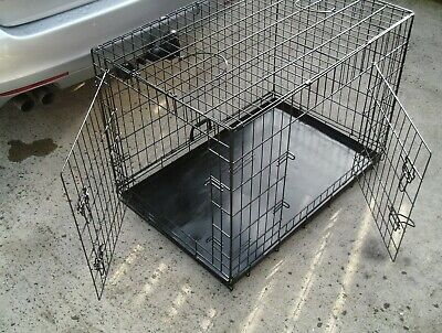 Heavy Duty 2 Door Metal Dog Crate Cage ( 3ft x 2ft x 2ft ) foldable   SUNDERLAND