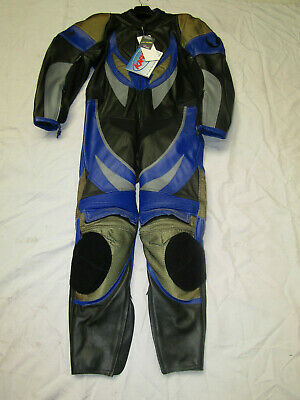 Belstaff Mens One Piece Black / Blue Leather Motorcycle Suit - Uk 40 / 42