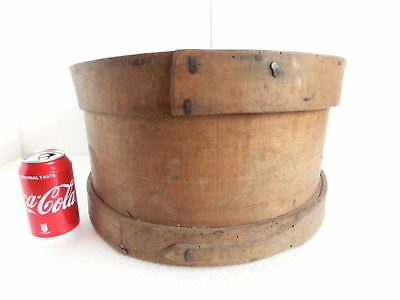 """Great Antique Wooden Primitive Round Lidded Shaker Pantry Box - 16+"""""""