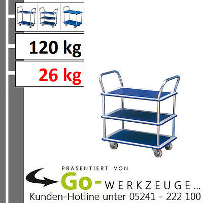 Solid Car Floor, Table Trolley, Load Capacity 120 kg, with 3 Ablage-Ebenen