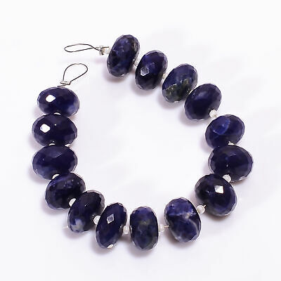74.5 Ct Natural Sodalite Gemstone Rondelle Shape Faceted Loose Beads Strand 4.5""