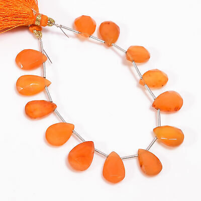 """64.25 Ct. Natural Carnelian Gemstone Pear Shape Faceted Loose Beads Strand 6"""""""