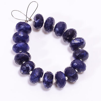 77.7 Ct Natural Sodalite Gemstone Rondelle Shape Faceted Loose Beads Strand 4.5""