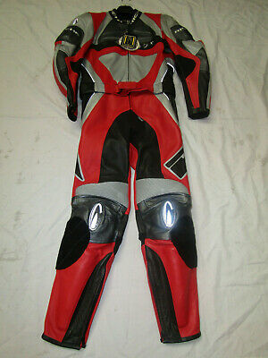 Richa Mens Two Piece Red / Black / Grey Leather Motorcycle Suit - Uk 44