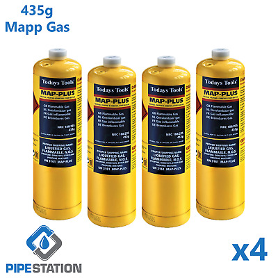 4x Yellow MAPP / MAP+ Pro Gas Cylinder 453g Disposable Bottle NEXT DAY DELIVERY