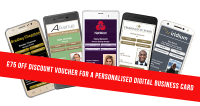£75 Off Personalised Digital Business Cards - Discount Voucher - No Expiry
