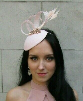 Light Pale Blush Pink Rose Gold Silver Feather Hat Fascinator Races Wedding 7502