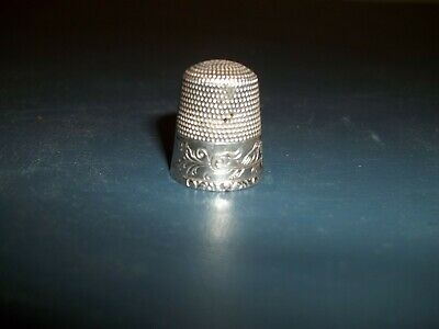 Vintage Birds & Flowers Patterned Size 12 Sterling Thimble Solid Heavy Clean