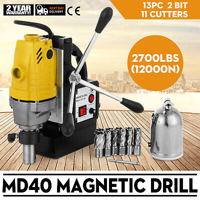1100W Electric Magnetic Drill Press 40mm Boring w/11 pcs HSS Annular Cutter Bits