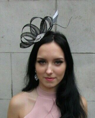 Black White Grey Silver Sinamay Feather Hair Fascinator Ladies Day Wedding 7520