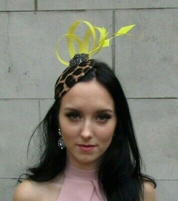Yellow Black Feather Leopard Animal Print Hat Fascinator Races Wedding 7526