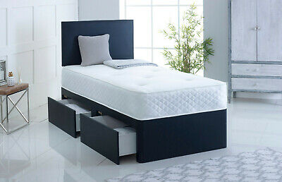 3Ft Leather Divan Bed Black Blue Brown Grey Red Purple Pink White Silver Cream
