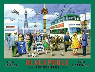 Blackpool's New Promenades Vintage Travel Advert.-P Metal/Steel Wall Sign