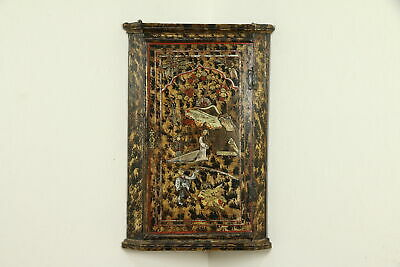 Chinoiserie Hand Painted English Antique 1750 Hanging Corner Cabinet #31942