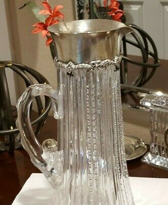 "10"" Tall Sterling Silver and Crystal Decanter, Great Condition"