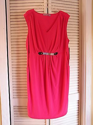 New Macy's NY Collection Pink Jersey Knit Dress Work Career Play Women's Plus 1X