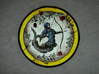 Beautiful Stained glass WARRIOR Hand painted Kiln fired Diameter-150mm Antiq st