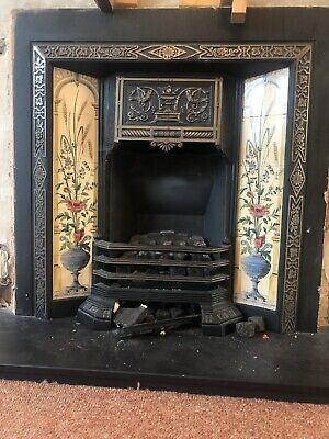 Victorian style cast iron fireplace surround and slate