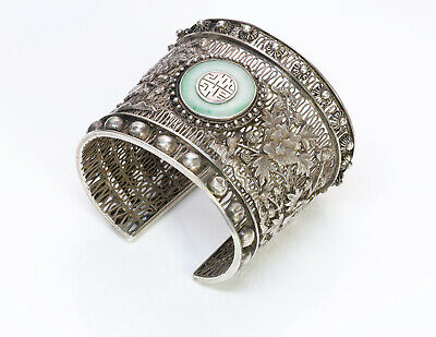 Antique Chinese Jade Filigree Silver Cuff Bracelet