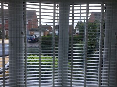 Made To Measure Wooden Venetian Blind White With Tapes Real Wood 35 / 50Mm Slats