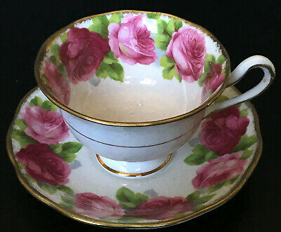 Vintage Royal Albert Old English Rose Avon Shaped Cup And Saucer