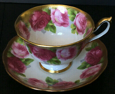 Vintage Royal Albert Old English Rose Avon Shaped Heavy Gold Cup And Saucer A