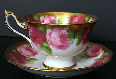 Vintage Royal Albert Old English Rose Avon Shaped Heavy Gold Cup And Saucer B
