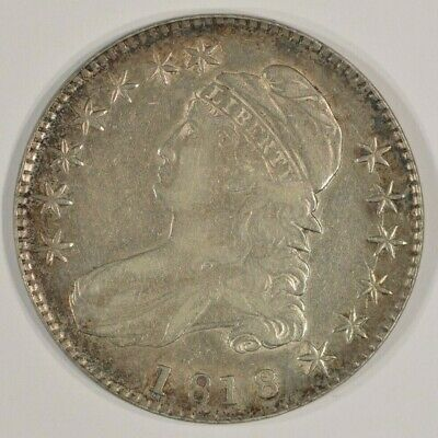 1818 Capped Bust Silver Half Dollar 50c Very Fine VF Details Light Scratches