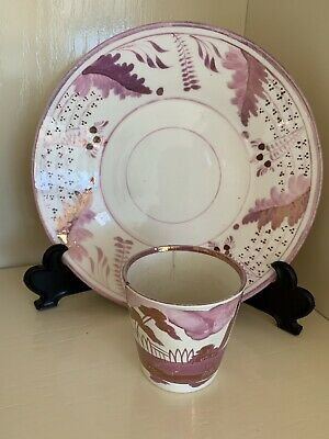 Antique Porcelain Lustreware New Hall Cup & Saucer C1815 Mauve Leaves & Ferns