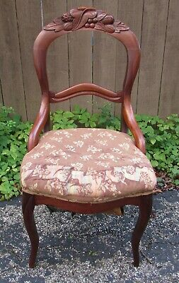 Antique Victorian Carved Walnut Balloon Back Chair