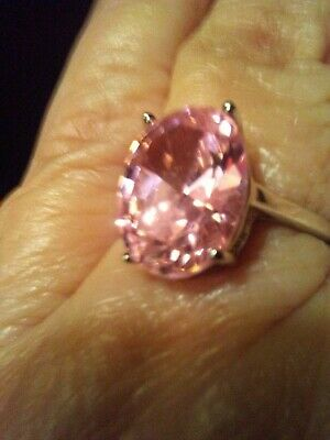 Radiant Pink  Tourmaline Solitaire.  925Ss Ring. 8Cts. Sz 7