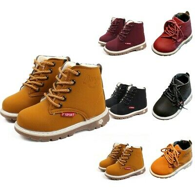Baby Kids Boys Girl Winter Warm Solid Fur Lined Shoes Ankle Boots Martin Boots A